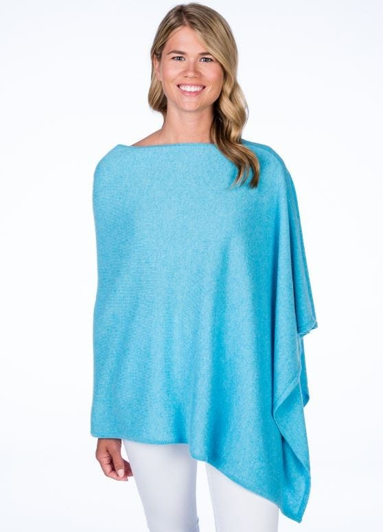 Luxe 100% Cashmere Knit Solid Color Cape