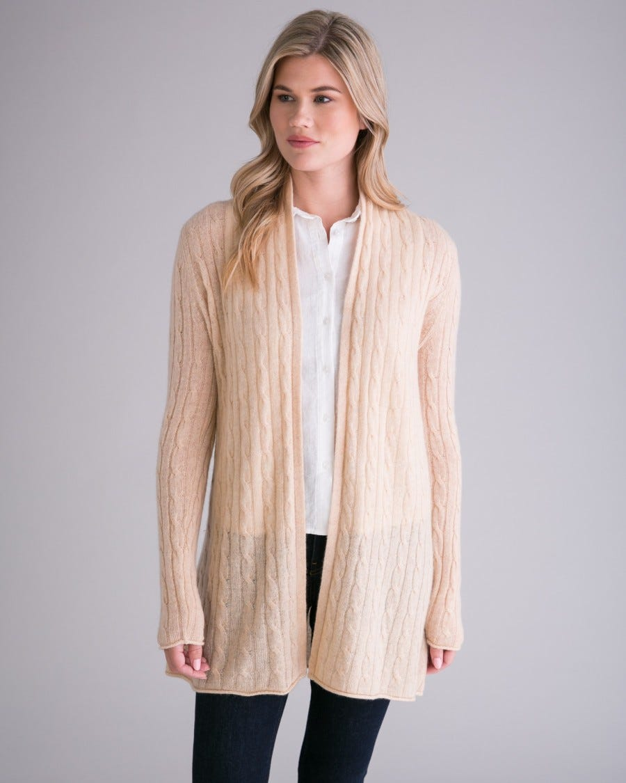 100% Cashmere Breezy Cable Mini Duster