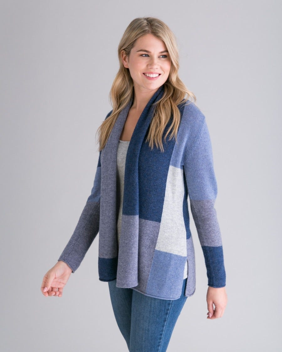 Cashmere Colorblock Mini Duster - Blue Grey