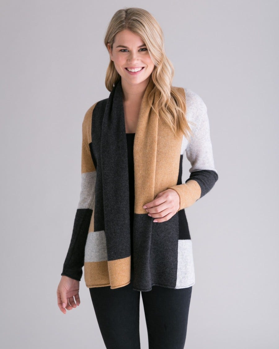 Cashmere Colorblock Mini Duster - Grey Camel