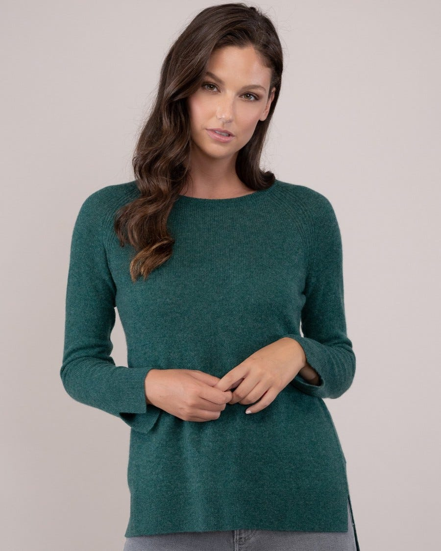 100% Cashmere Shirttail Raglan Weekend Pullover