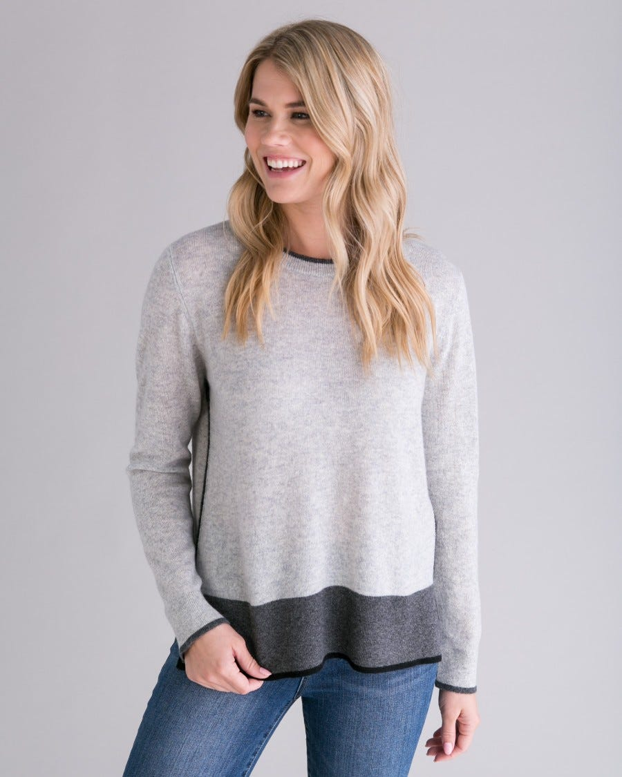 Grey Cashmere Tri Tipped Pullover - Front View