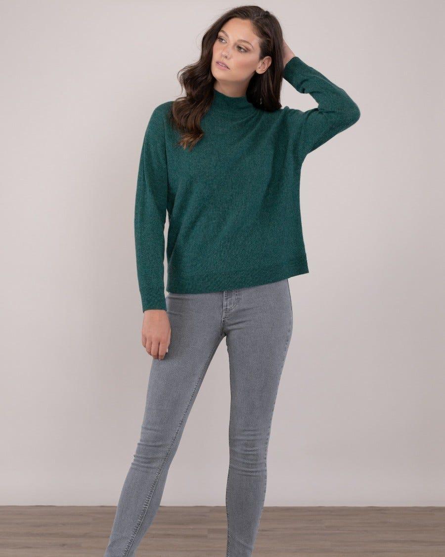 Green Cashmere Via Veneto Dolman Pullover -Front View