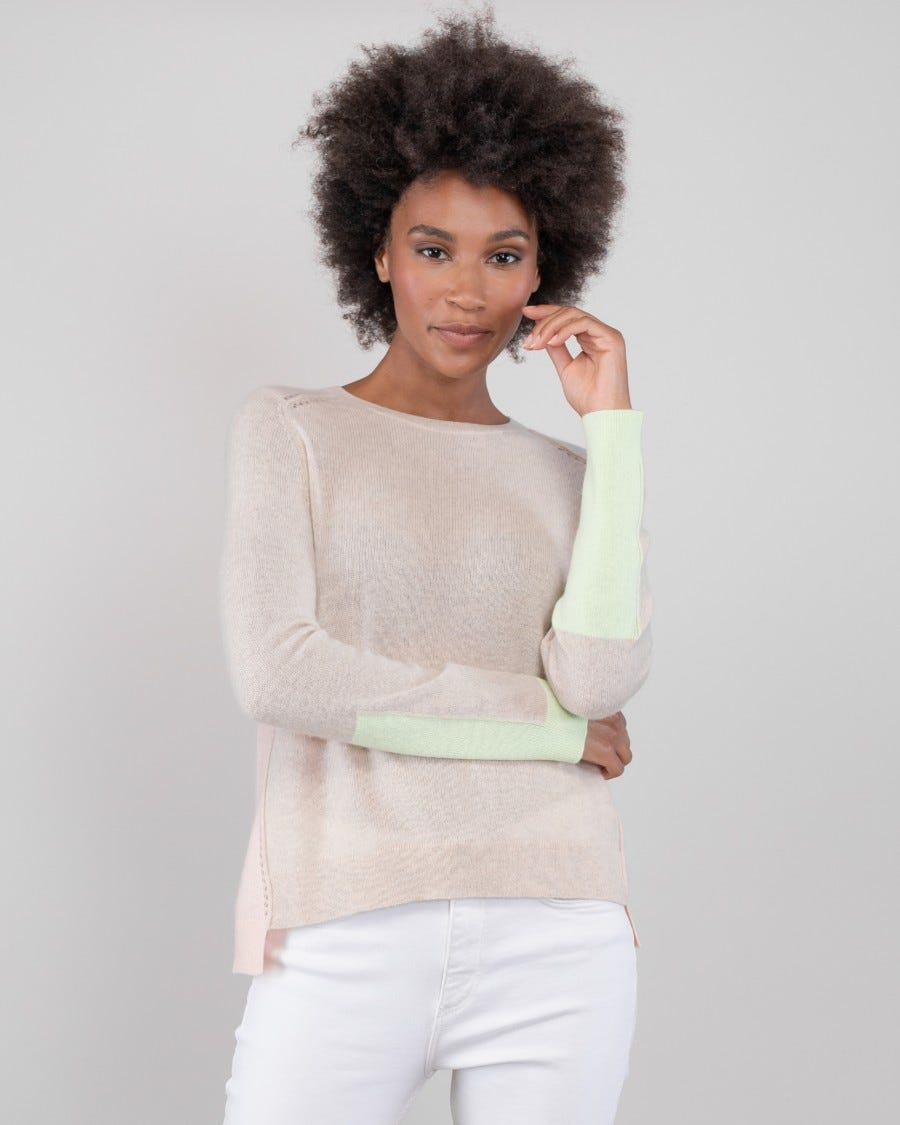 Cashmere North Shore Color Block Pullover - Dune