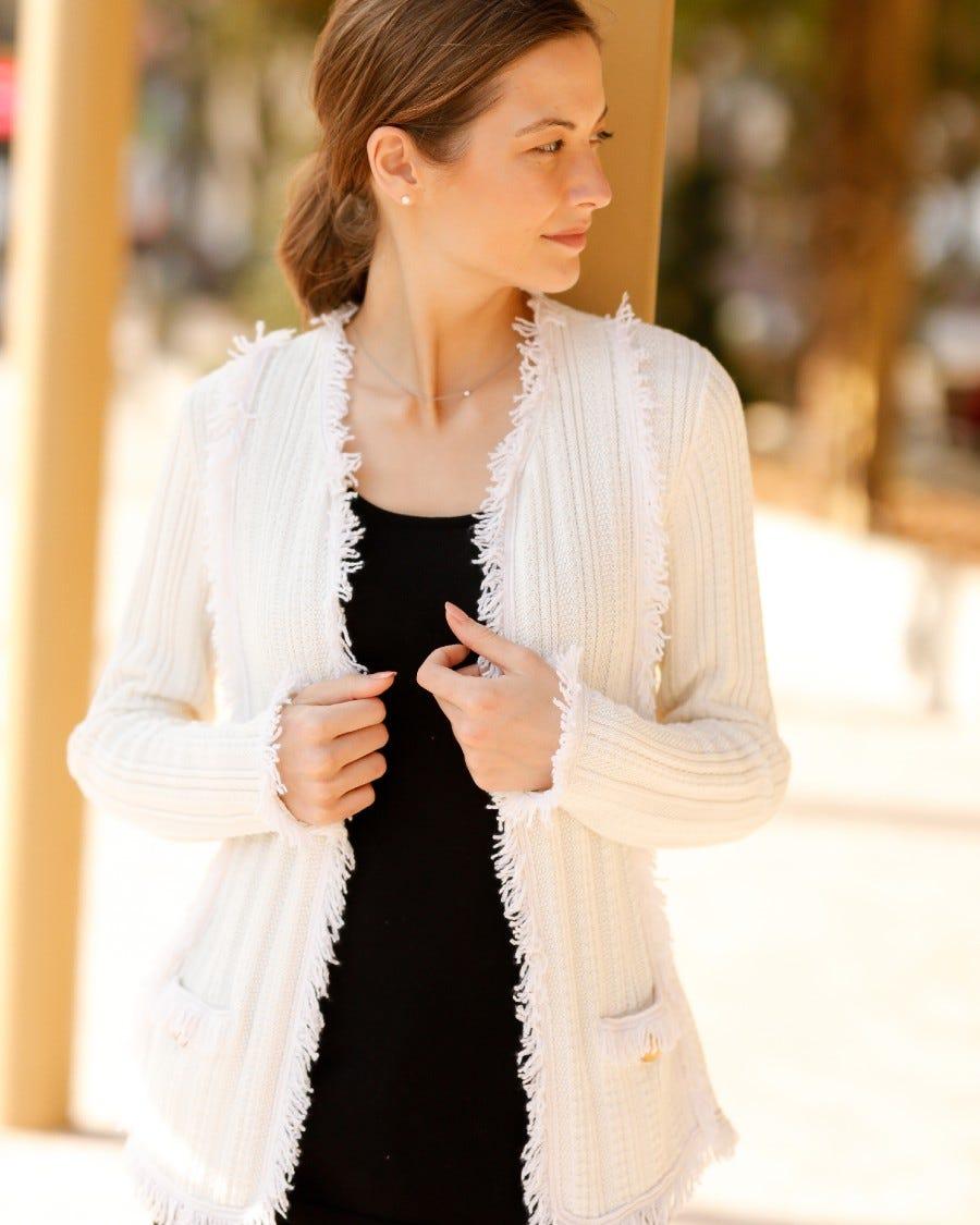 Cotton Cashmere Bon Marche Fringe Trim Jacket - White