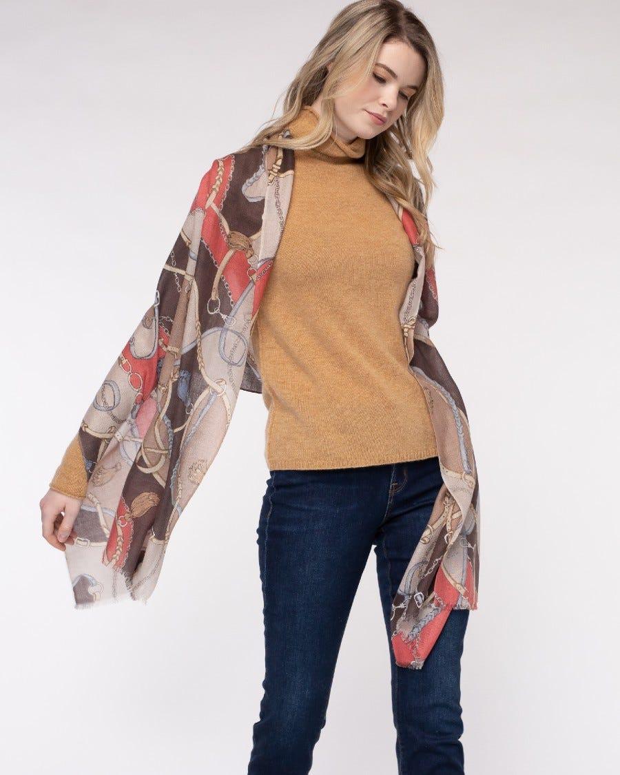 Silk Cashmere Equestrian Woven Wrap