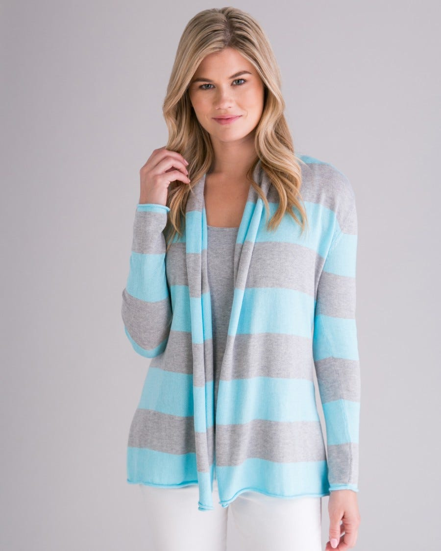 Cotton Cashmere Stripe Mini Duster