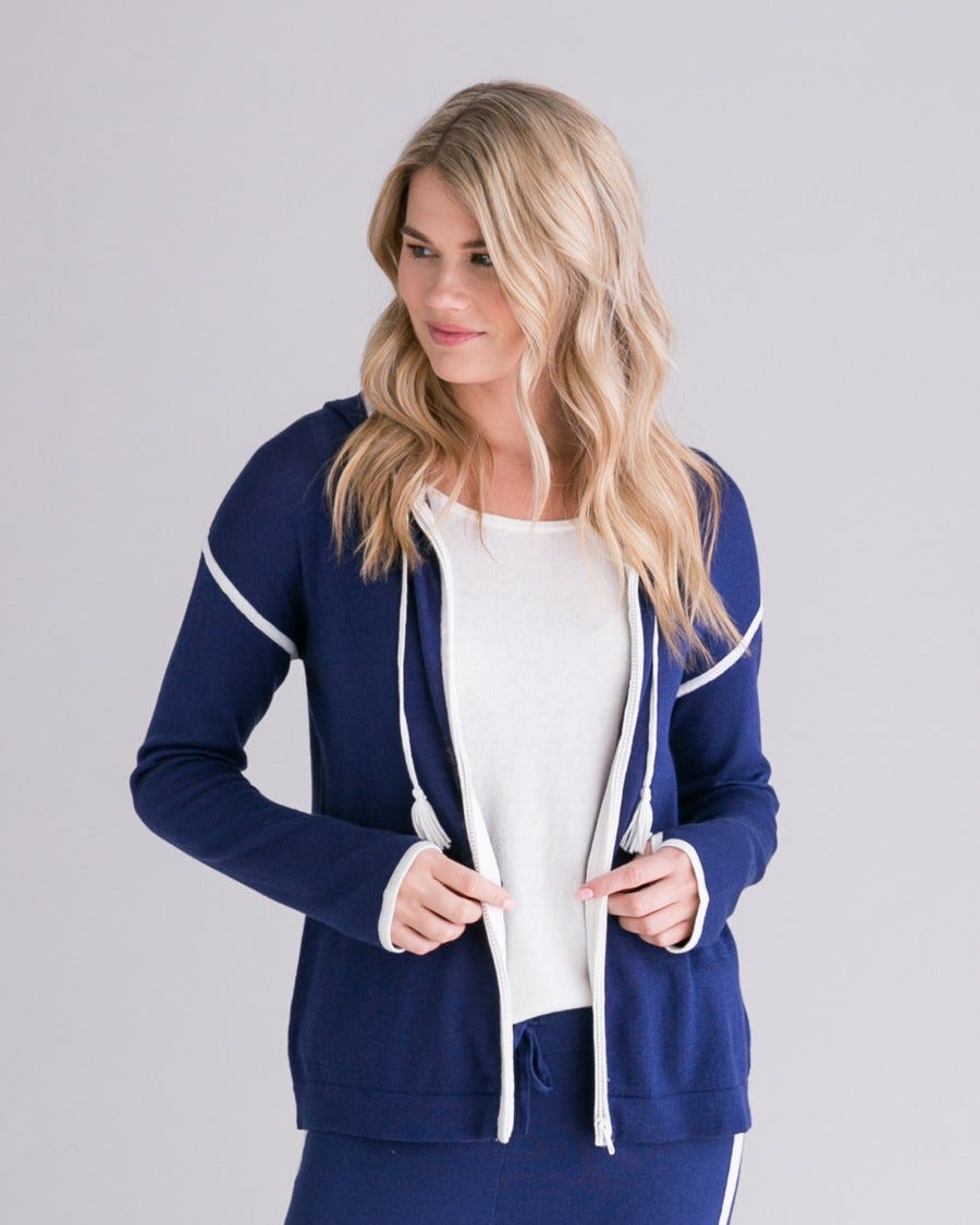Abyss Cotton Cashmere Contrast Tipped Zip Hoodie Front View