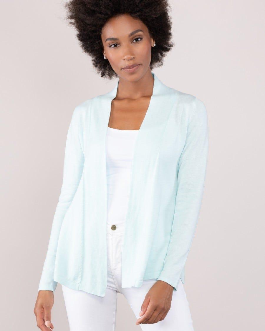 Cotton Cashmere Princess Line Short Cardi - Opal