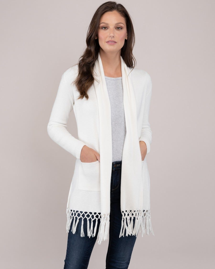 Cotton Cashmere Sugar Beach Fringe Duster