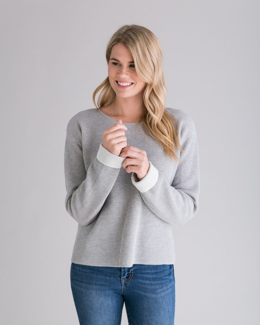 Grey Cotton Cashmere Plated Reversible Pullover - Front View
