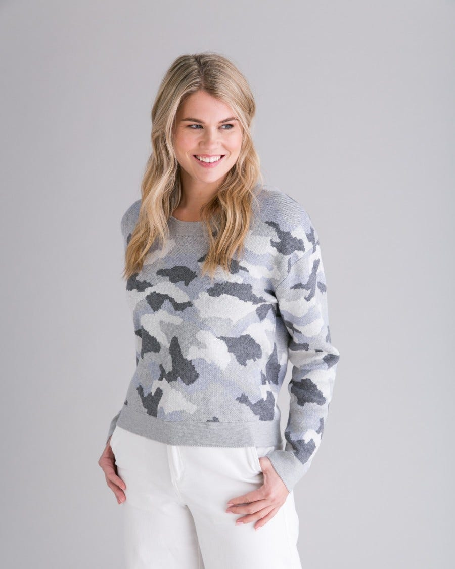 Grey Cotton Cashmere Relaxed Camo Pullover - Front