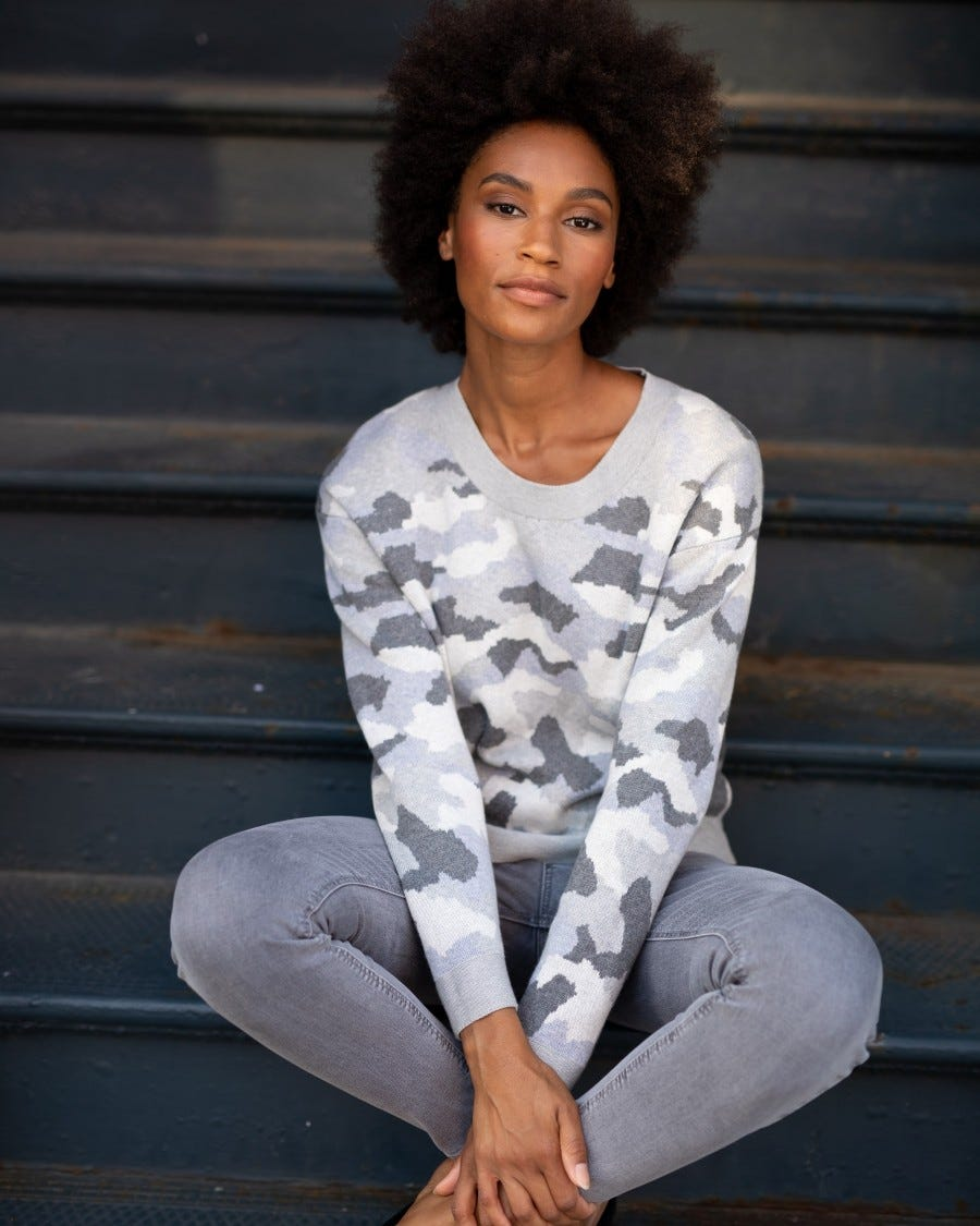 Grey Cotton Cashmere Relaxed Camo Pullover - Lifestyle