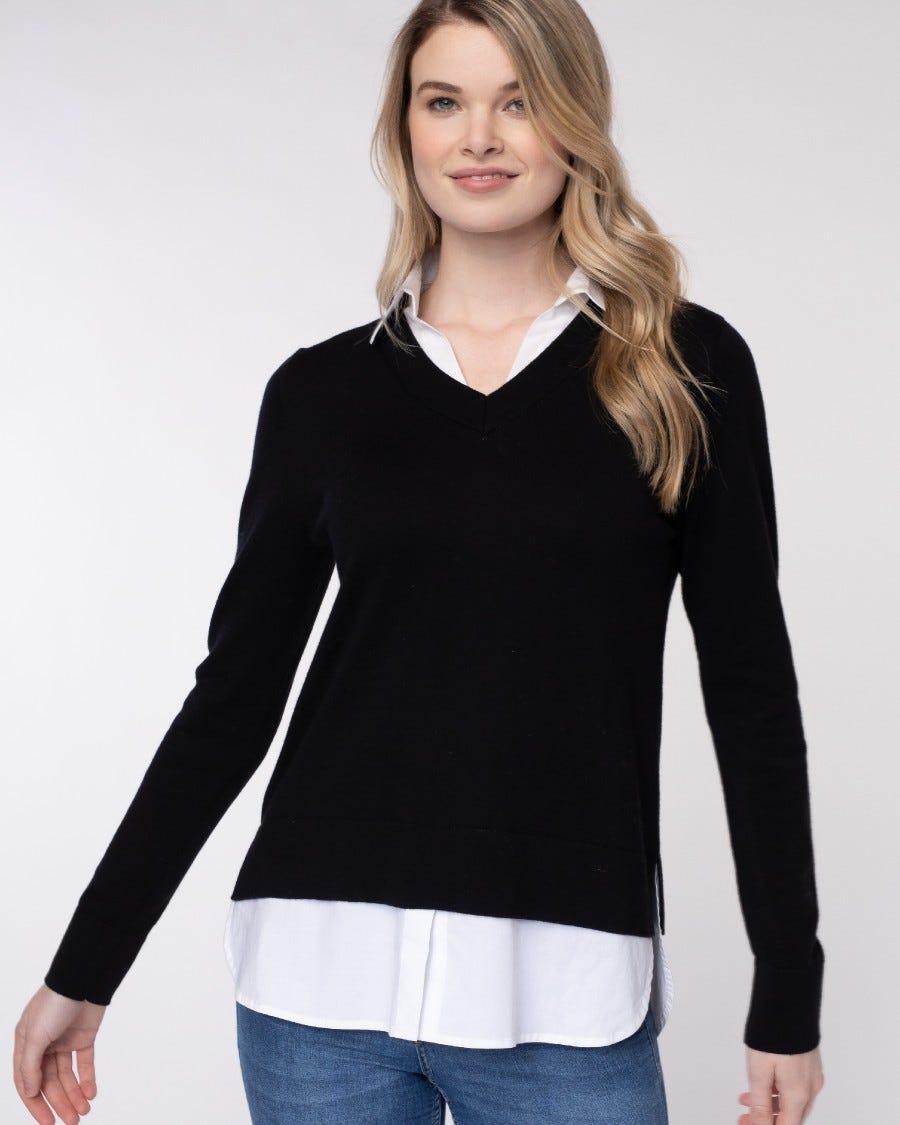 Cotton Cashmere Montage Shirttail Sweater - Ebony