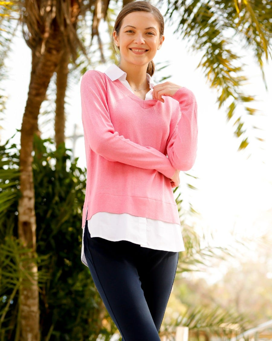 Cotton Cashmere Montage Shirttail Sweater - Palm Beach