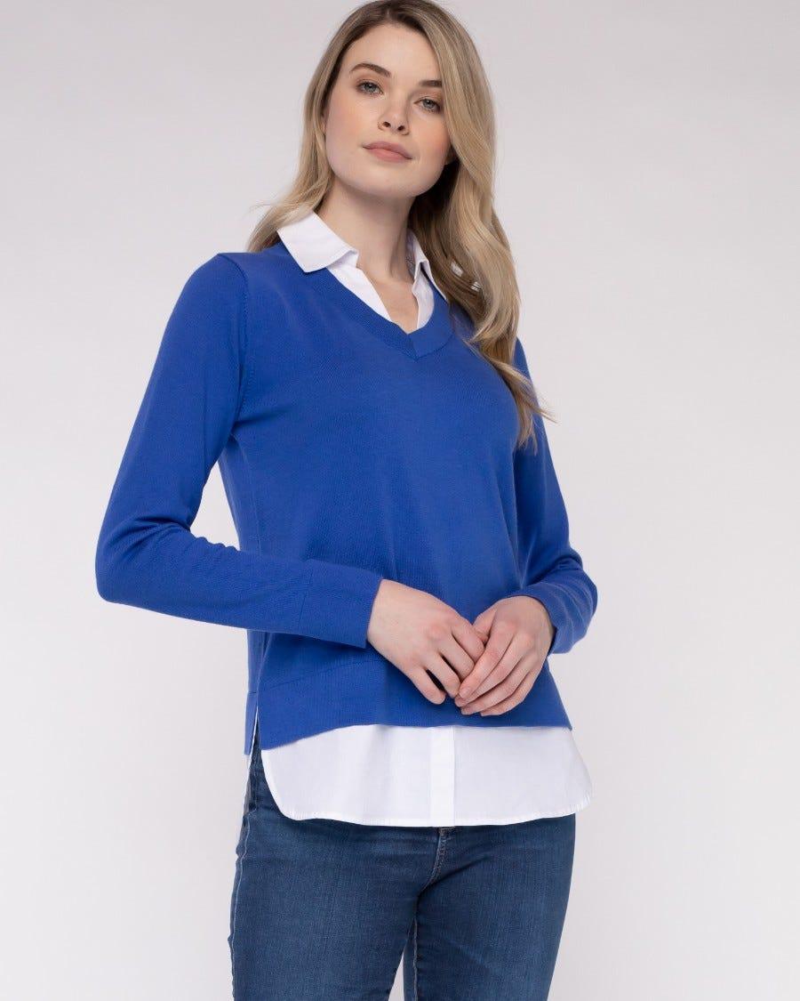 Cotton Cashmere Montage Shirttail Sweater - Cruise Blue