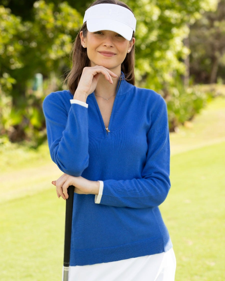 Cotton Cashmere Tee Time Half Zip Pullover - Cruise Blue