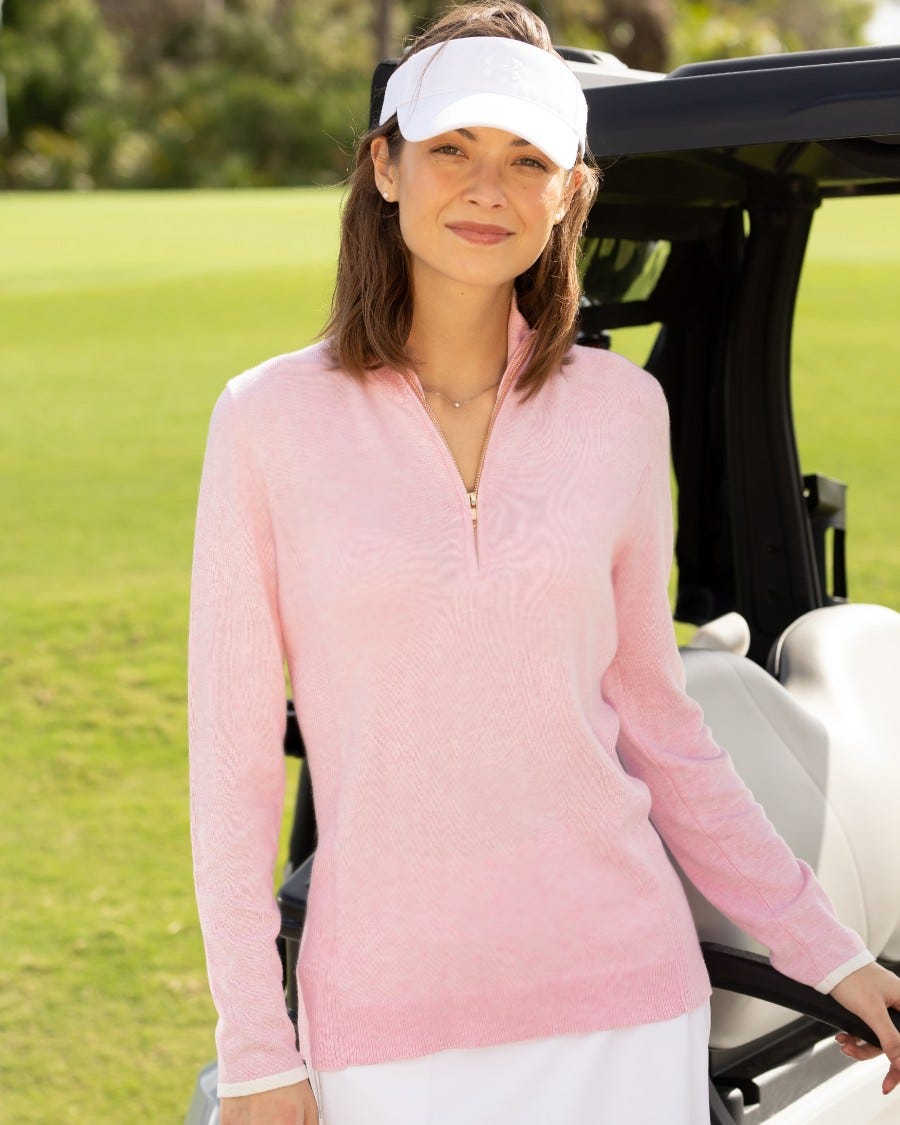 Cotton Cashmere Tee Time Half Zip Pullover - Bermuda Pink