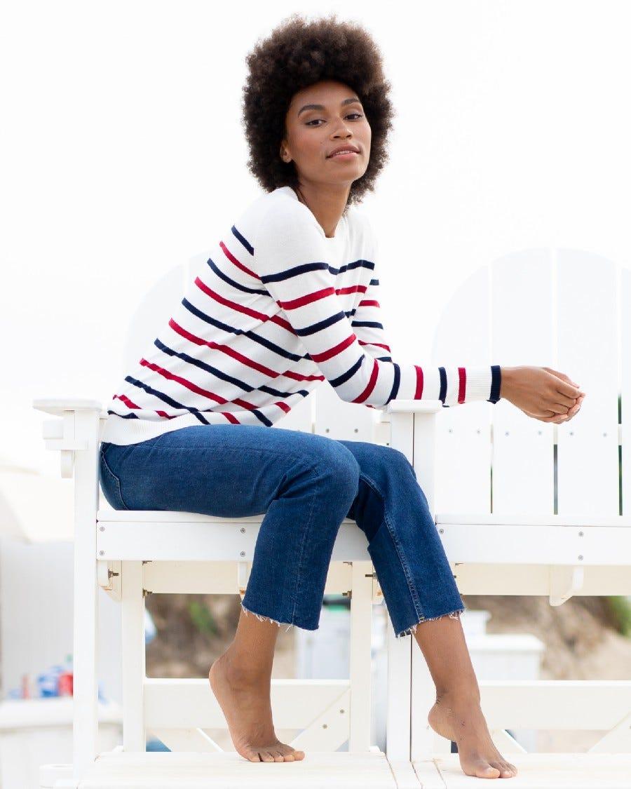 Cotton Cashmere Sail Away Stripe Pullover