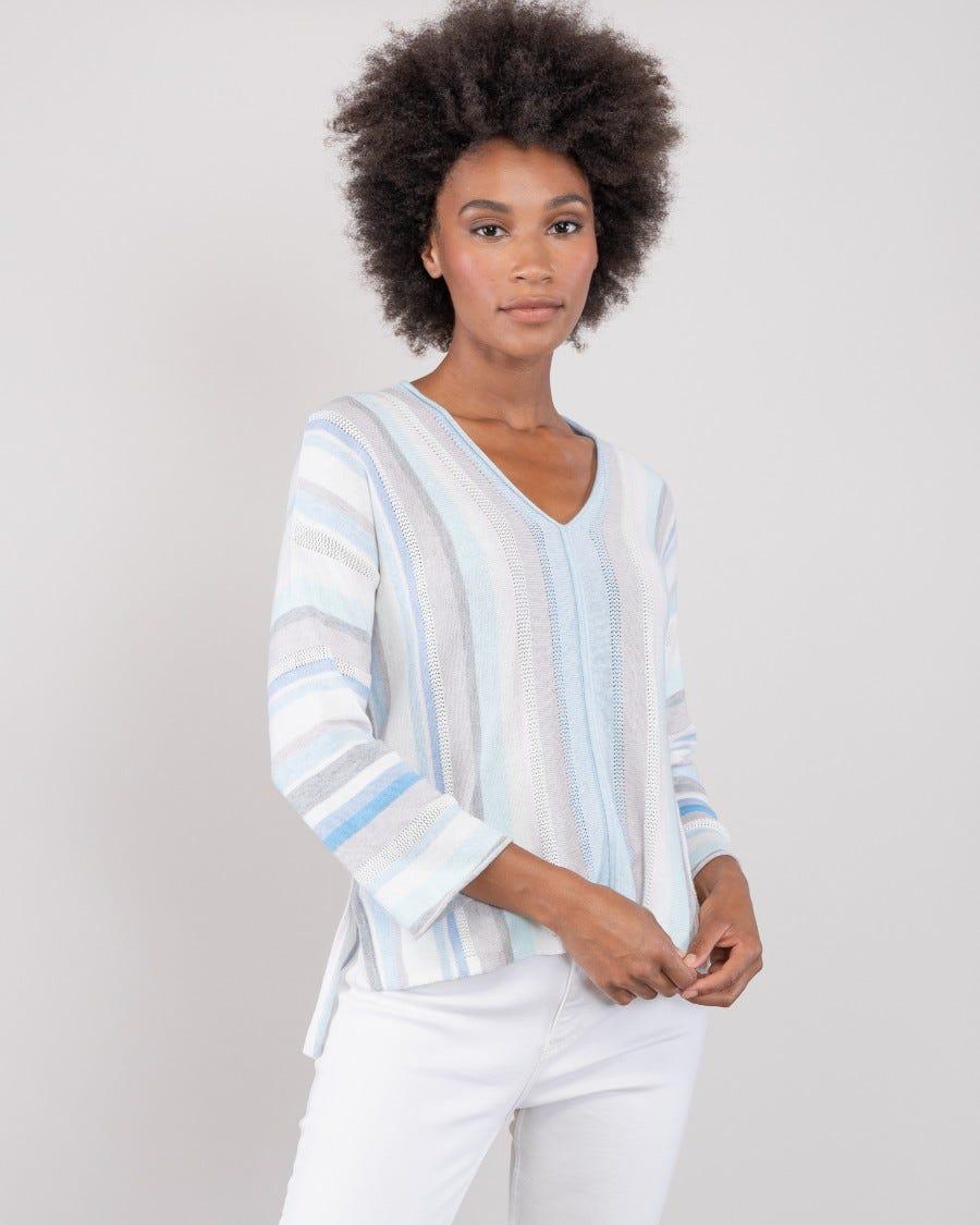Cotton Cashmere Copacabana Stripe Pullover - Iris