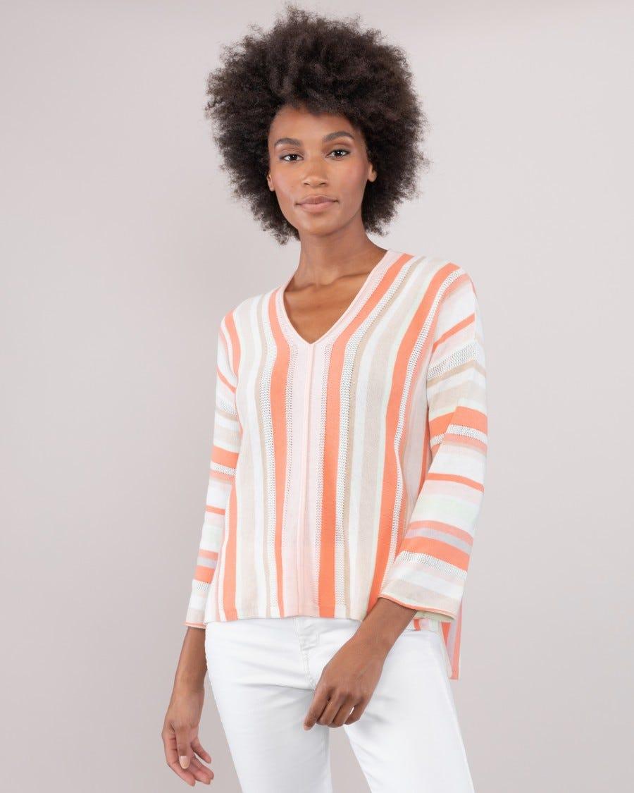 Cotton Cashmere Copacabana Stripe Pullover - Coral