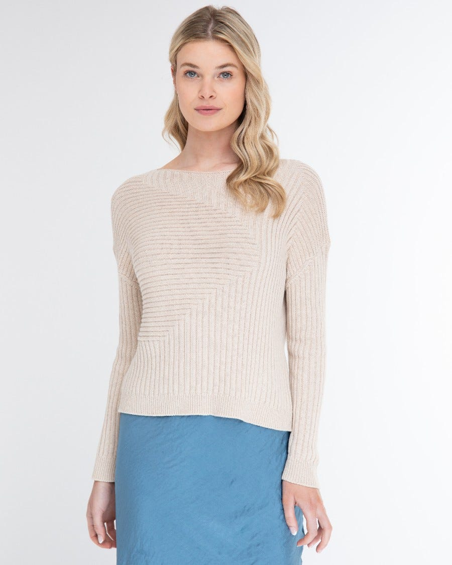 Cotton Cashmere Angled Rib Cropped Pullover - Dune