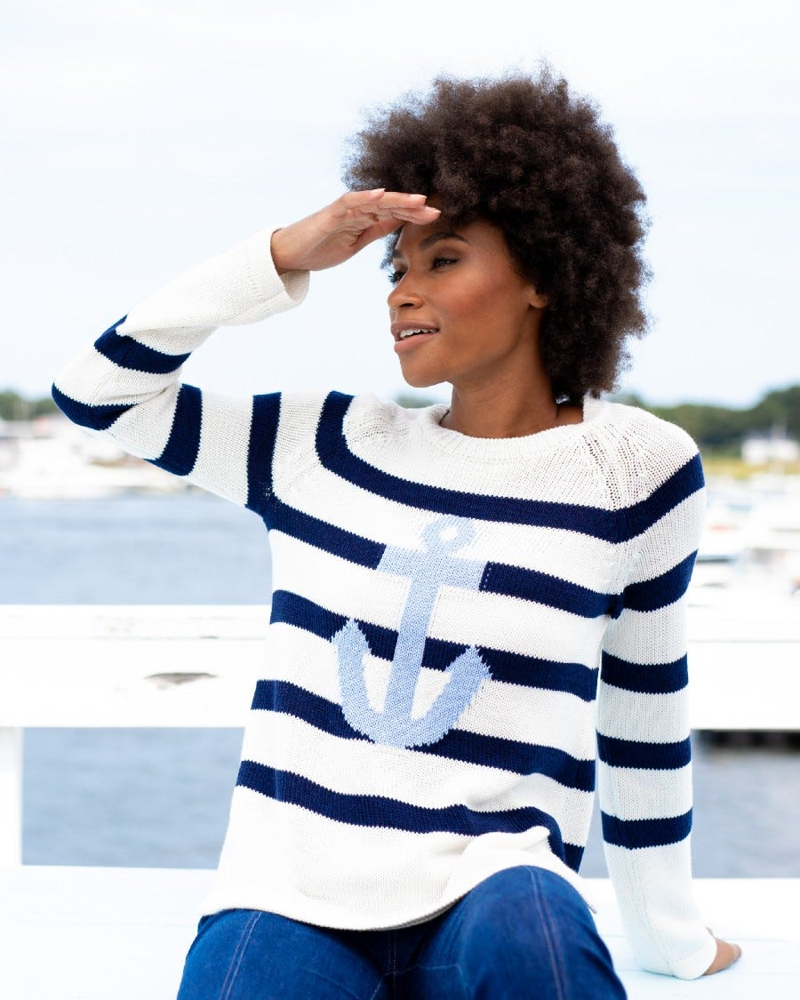 Cotton Cashmere Anchors Aweigh Stripe Pullover