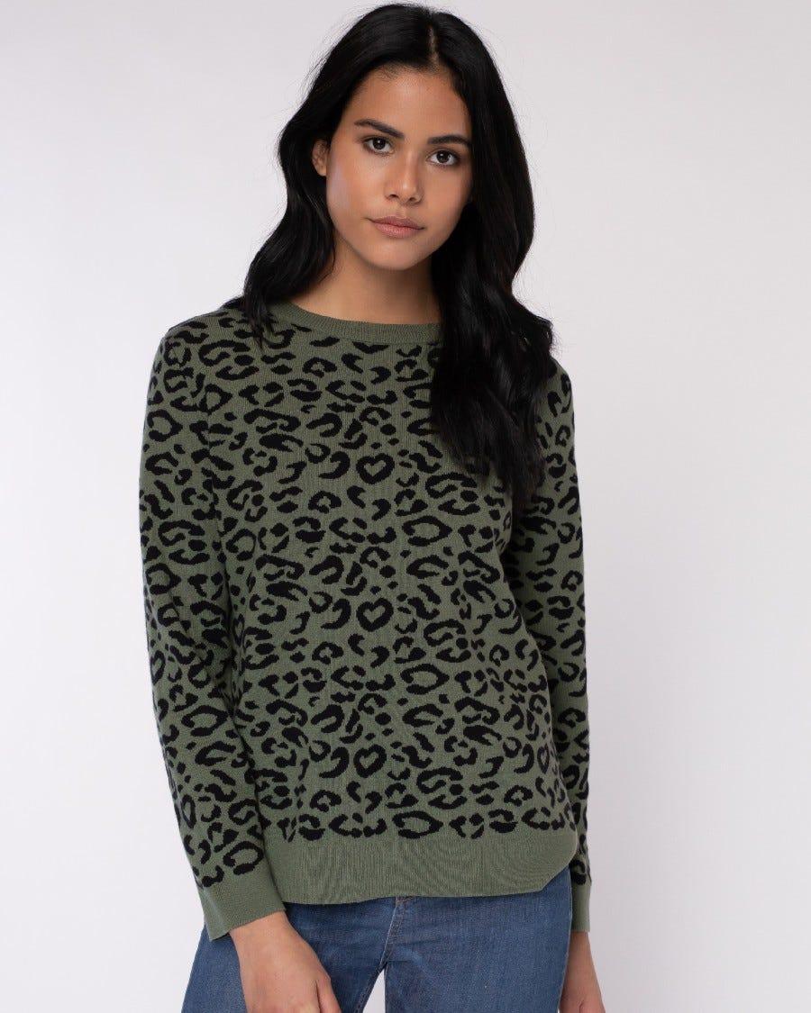 Cotton Cashmere Payton Mini Leopard Pullover
