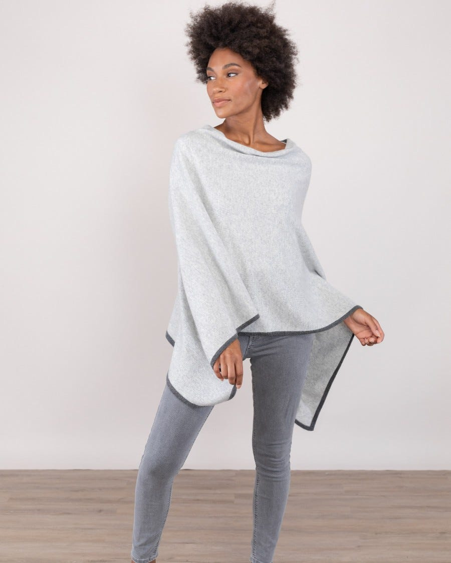 100% Cashmere Poncho with Contrast Trim