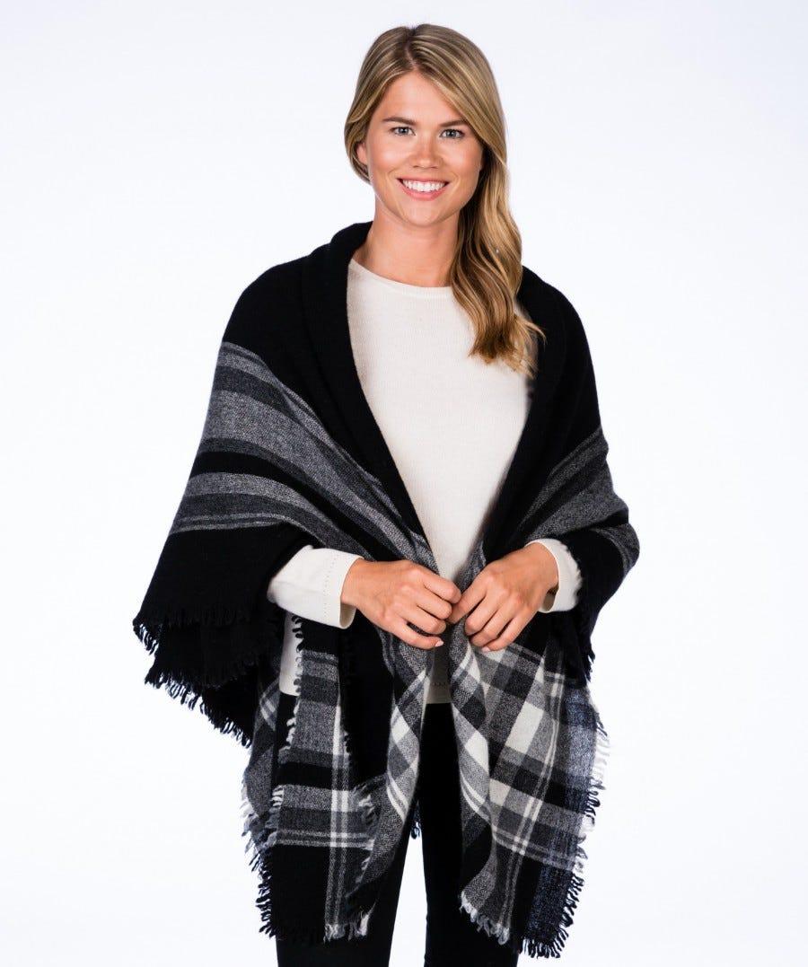 100% Cashmere Parisian Woven Blanket Scarf/Square Wrap