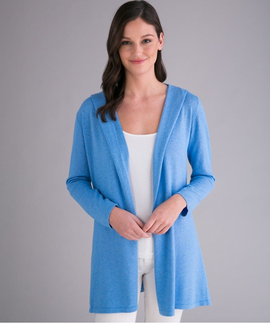 Cotton Cashmere Fly Away Hooded Cardigan