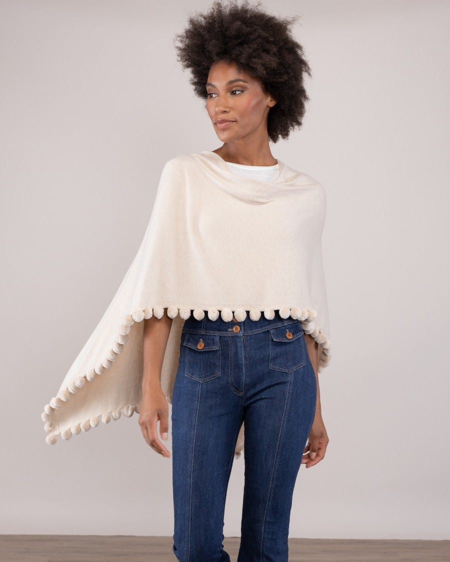 Cotton Cashmere Pom Pom Trim Topper