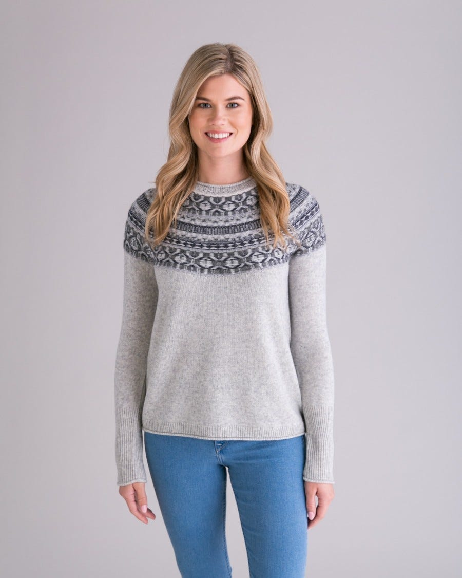 Grey Merino Cashmere Iceland Pullover - Front View