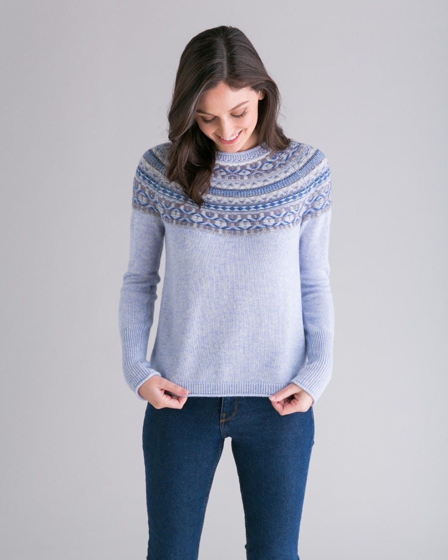 Blue Merino Cashmere Iceland Pullover - Front View