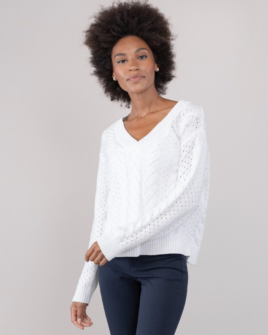 100% Cotton Evening Cable Sweater- Bright White