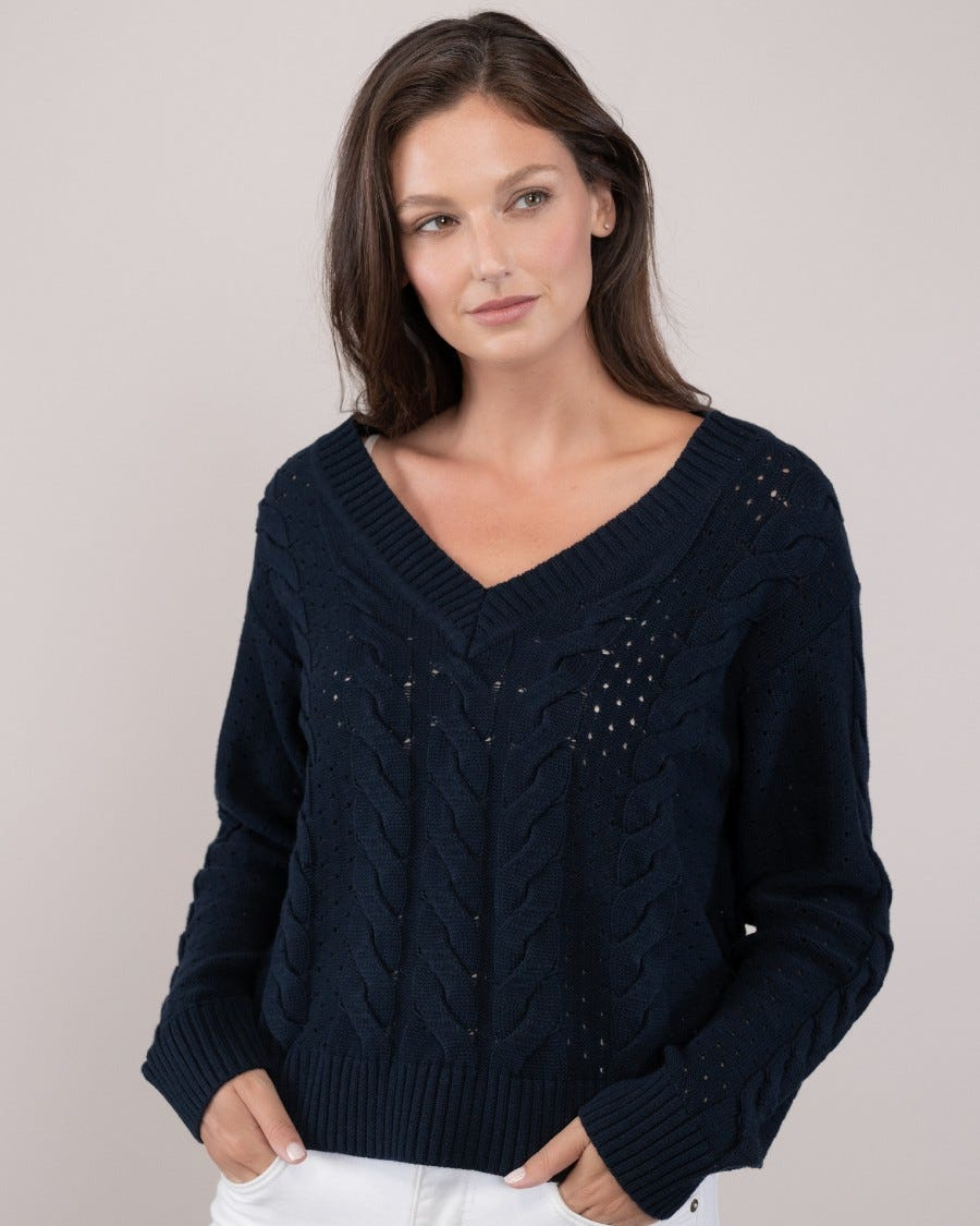 100% Cotton Evening Cable Sweater- Naval