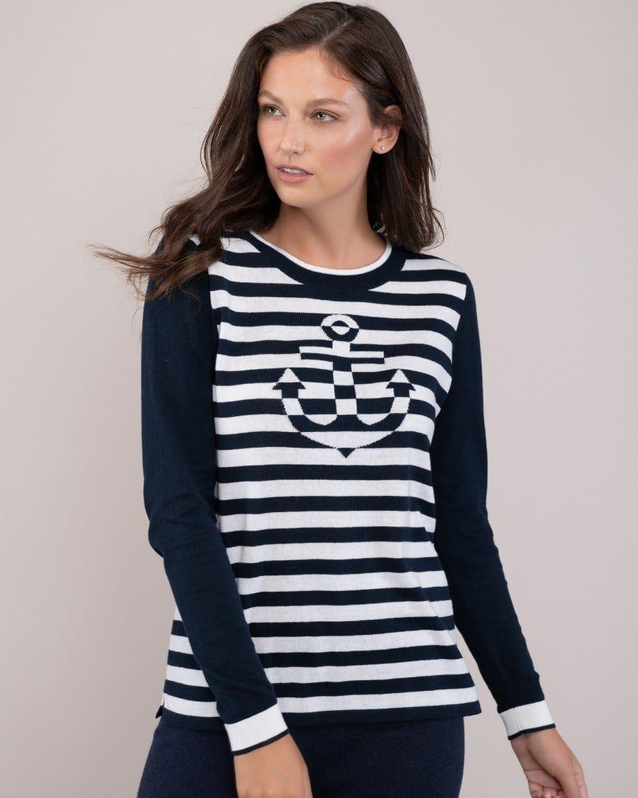 Cotton Marina Anchor Stripe Pullover