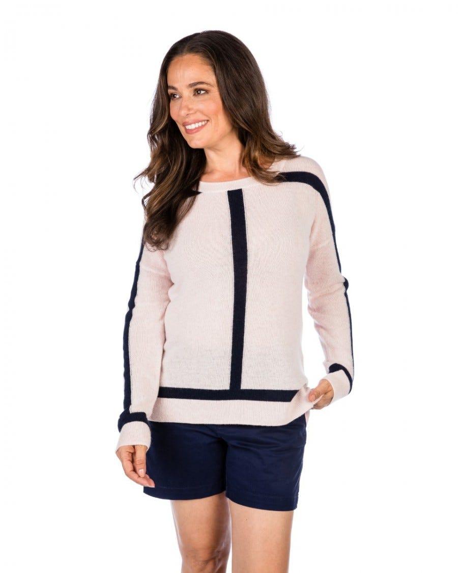 100% Cashmere Contrast Framed Pullover
