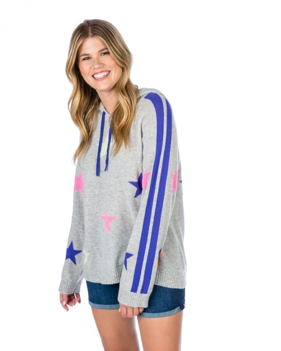 100% Cashmere Star Intarsia Hooded Pullover