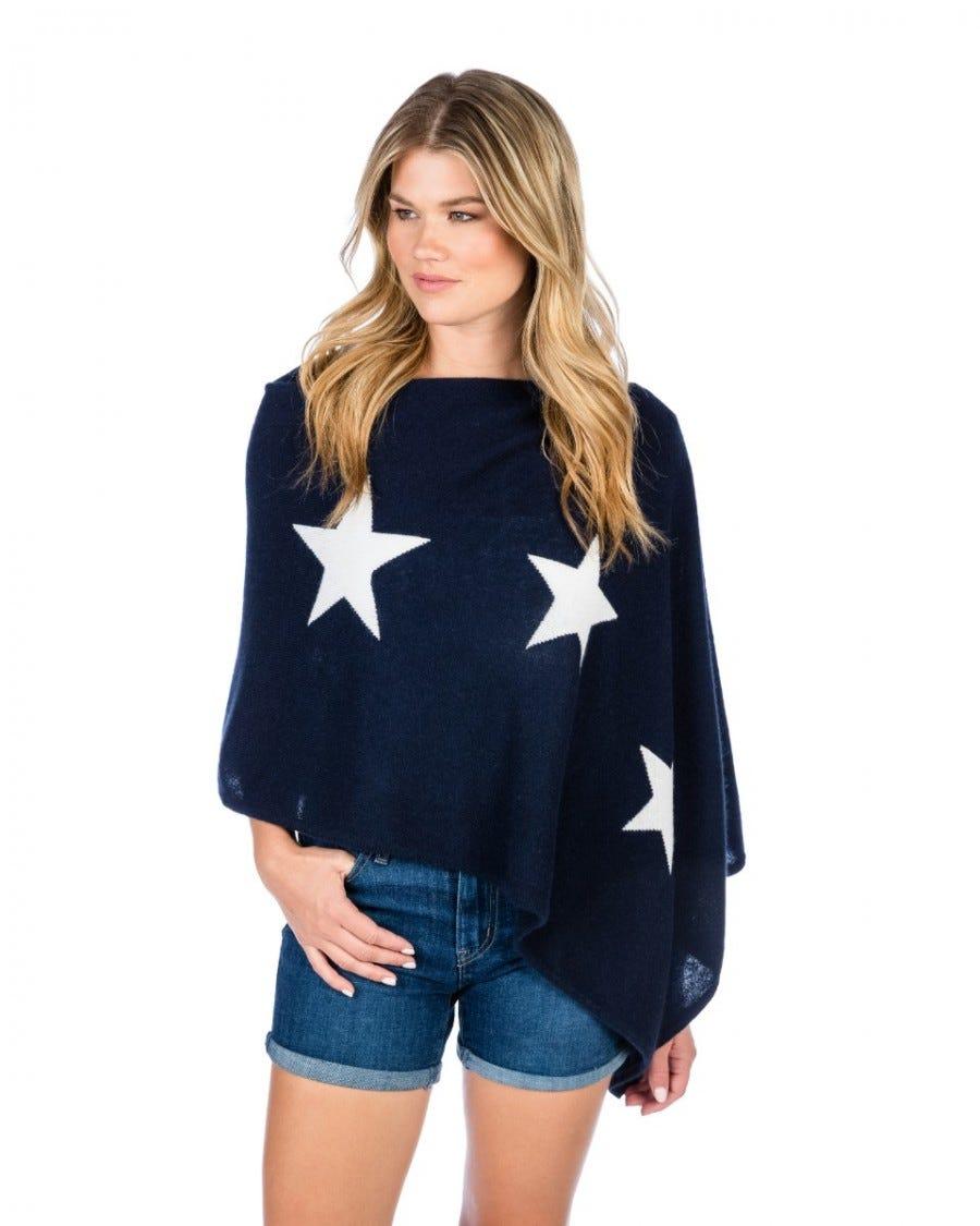 100% Cashmere Star Intarsia Topper