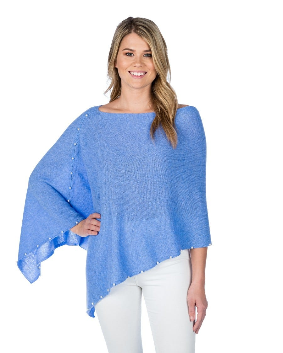 100% Cashmere Pearl Trim Dress Topper Poncho