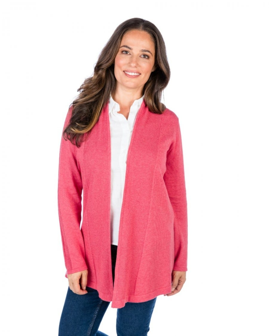 Cotton Cashmere Moss Trim Club Cardigan