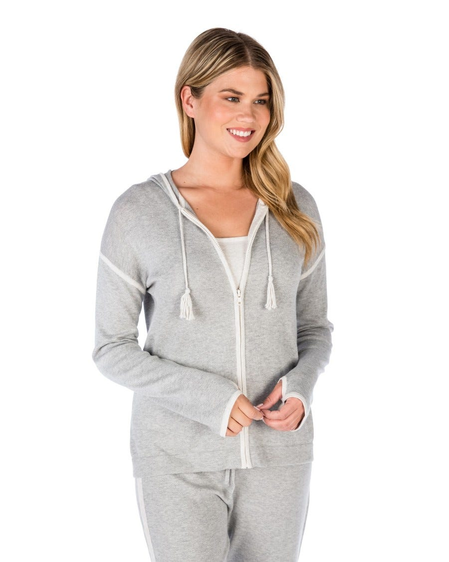 Grey Cotton Cashmere Contrast Tipped Zip Hoodie Front View