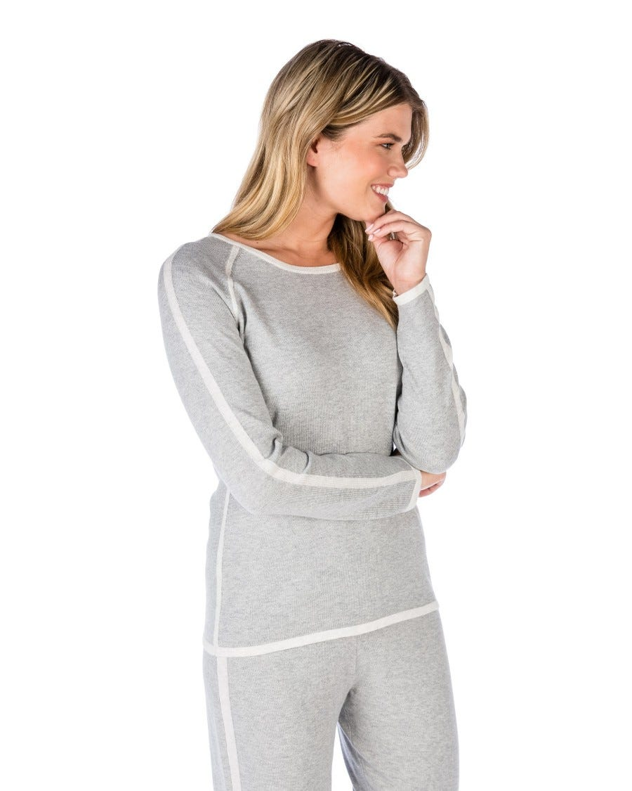 Grey Cotton Cashmere Tipped Raglan Pullover Front View