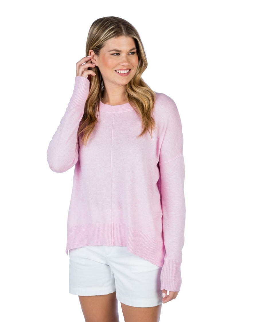 Cotton Cashmere Pintuck Trim Pullover