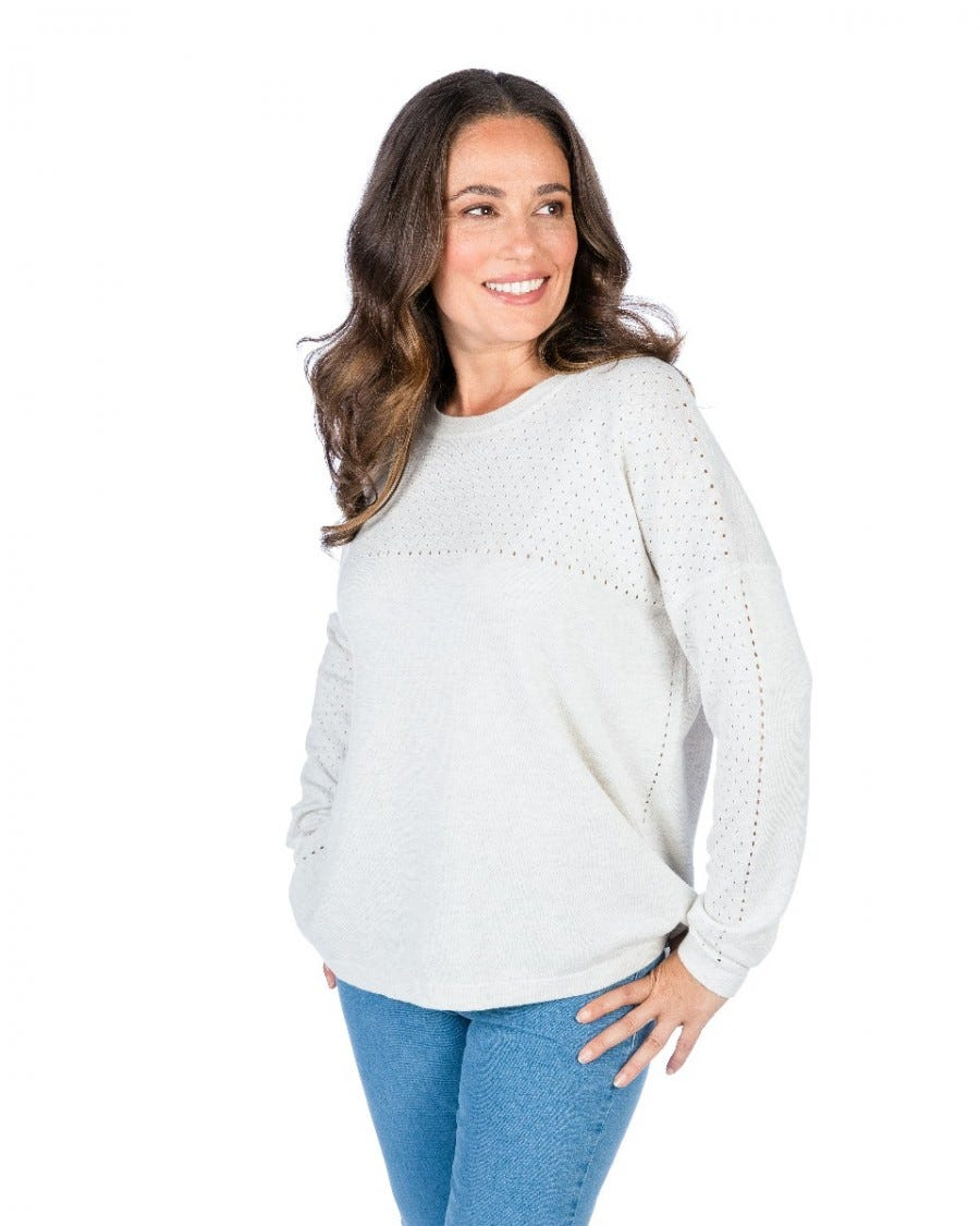 Cotton Cashmere Pointelle Yoke Pullover