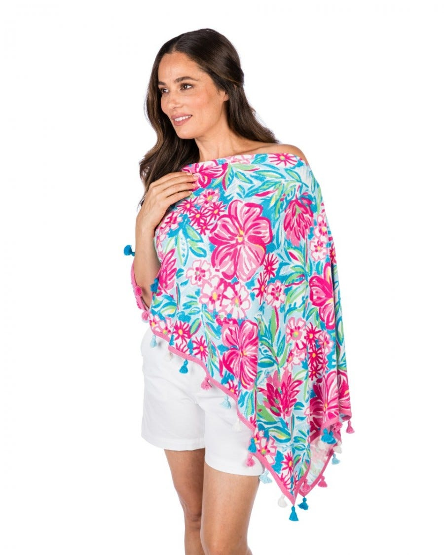 Cotton Cashmere Floral Print Topper with Tassels