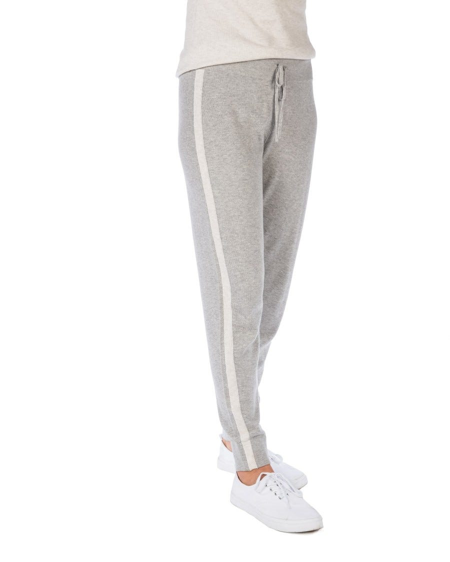 Grey Cotton Cashmere Tipped Weekend Joggers
