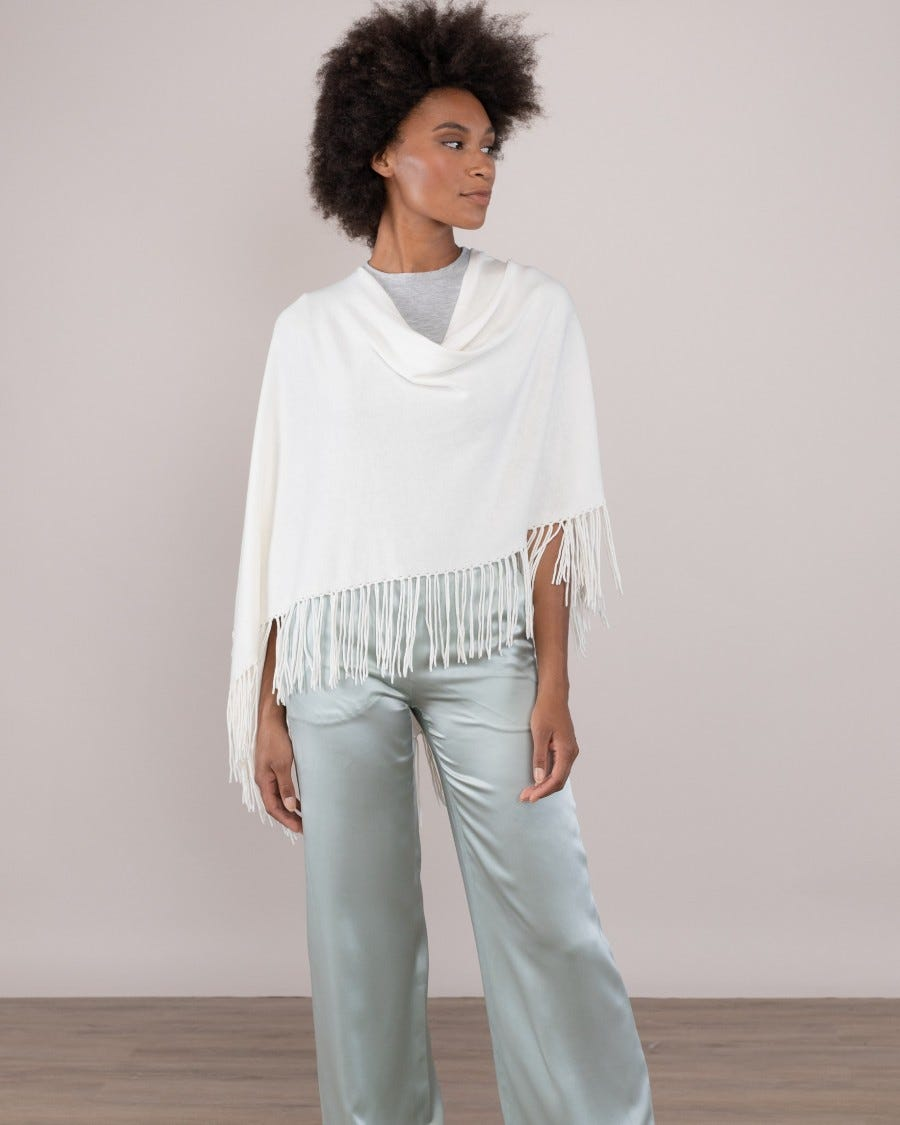 Trade Wind Cotton Cashmere Topper with Fringe