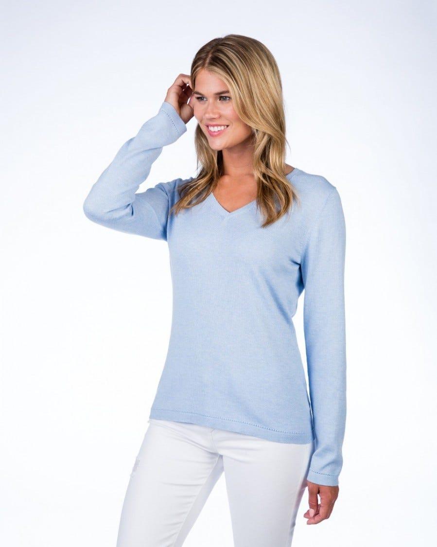 Cotton Cashmere Classic V-Neck Pullover